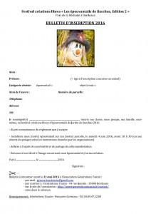 Bulletin d'inscription festival